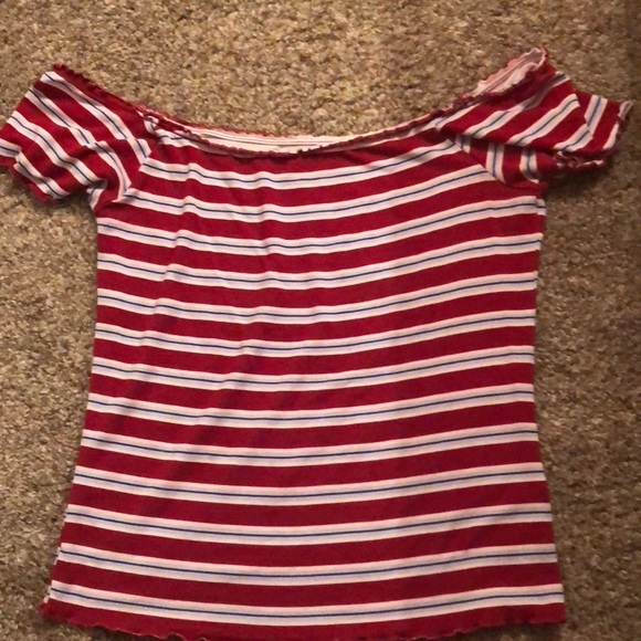 PacSun Tops - cute red white and blue striped shirt